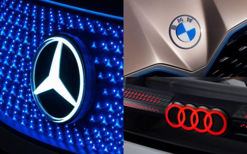Логотипы Mercedes-Benz, Audi и BMW