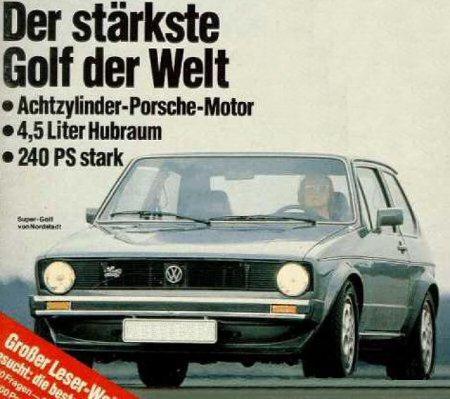 Обложка журнала Autobild 1979 года с Golf 928 Artz