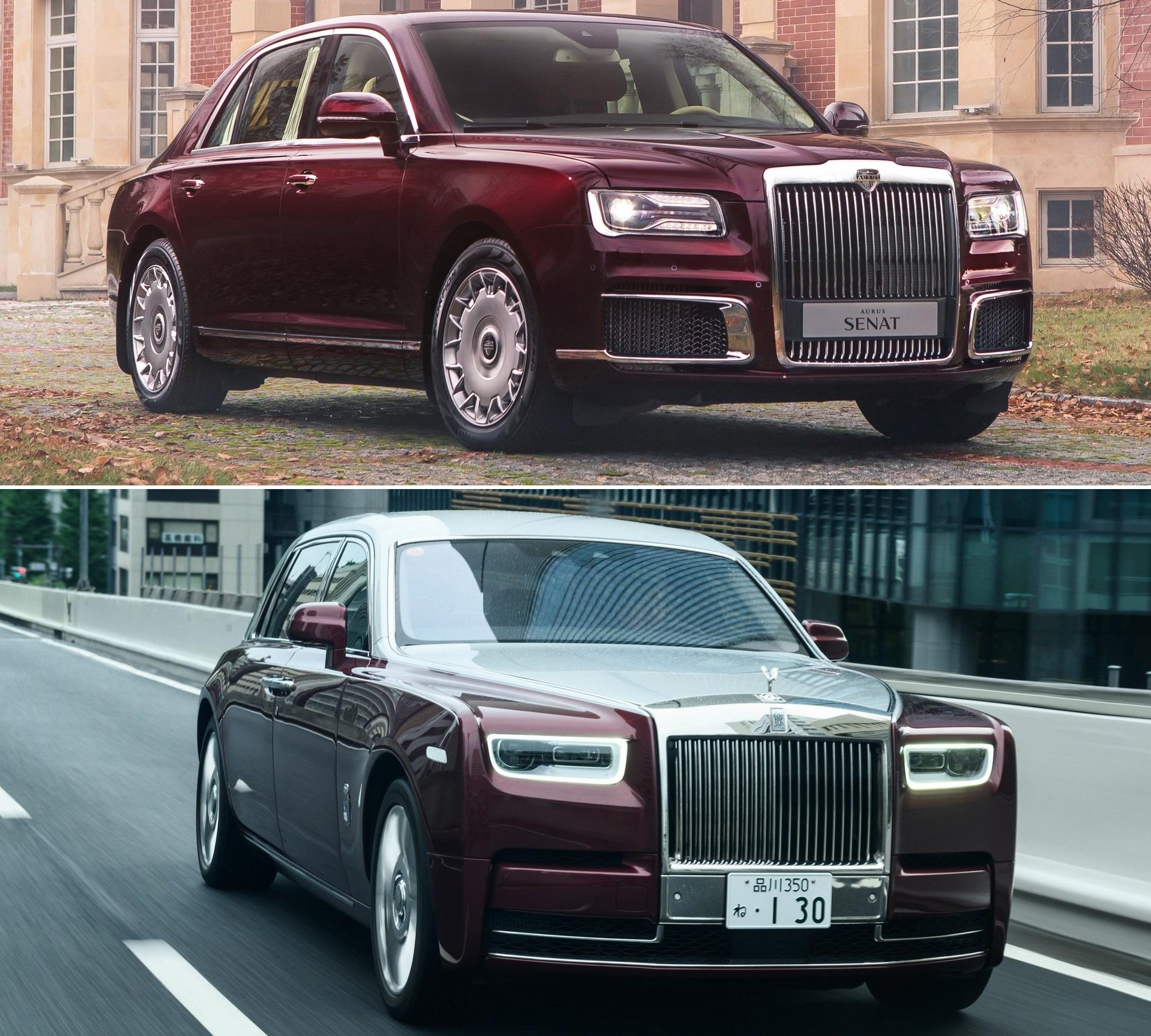 Aurus Senat и Rolls-Royce Phantom EWB