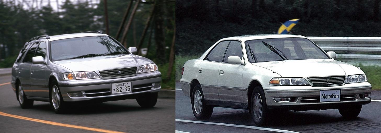 Toyota Mark II Wagon Qualis слева и Toyota Mark II 3.0 Grande G справа